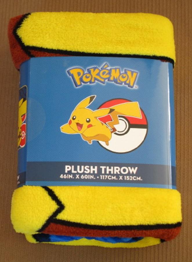 New Pikachu Pokemon Go Plush Fleece Throw Gift Blanket Lightning Tail Pokeball