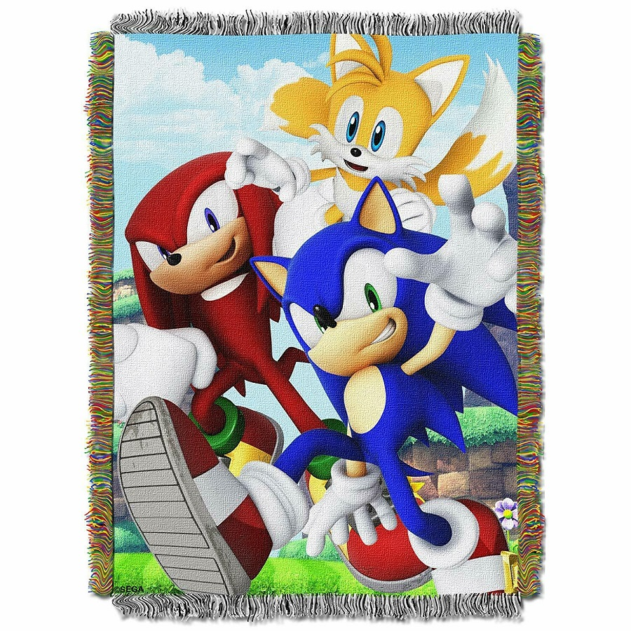 New Movie Sonic The Hedgehog Throw Gift Blanket Woven Knuckles Tails Sega Game Ebay