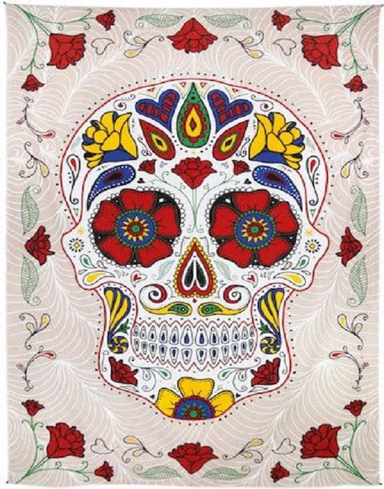 New 3D Colorful Sugar Skull Tapestry 60X90 Day of the Dead Skulls Wall Decor NIP