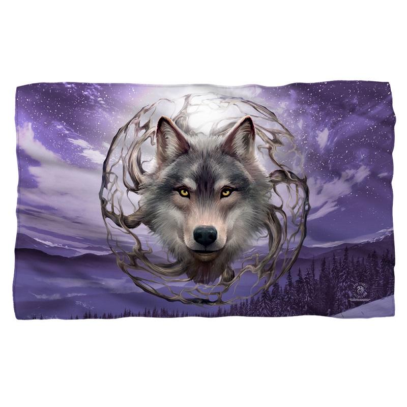 New Celestial Wolf Purple Sky 58x36 Anne Stokes Fleece